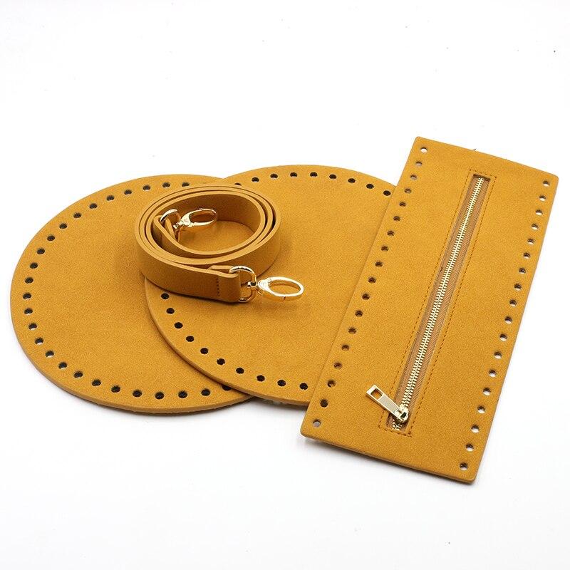 4PCS /Set Handmade Handbag Belt Woven Diy Bag Accessories Bag Bottoms Cover Leather Shoulder Strap For Shoulder Bag #C