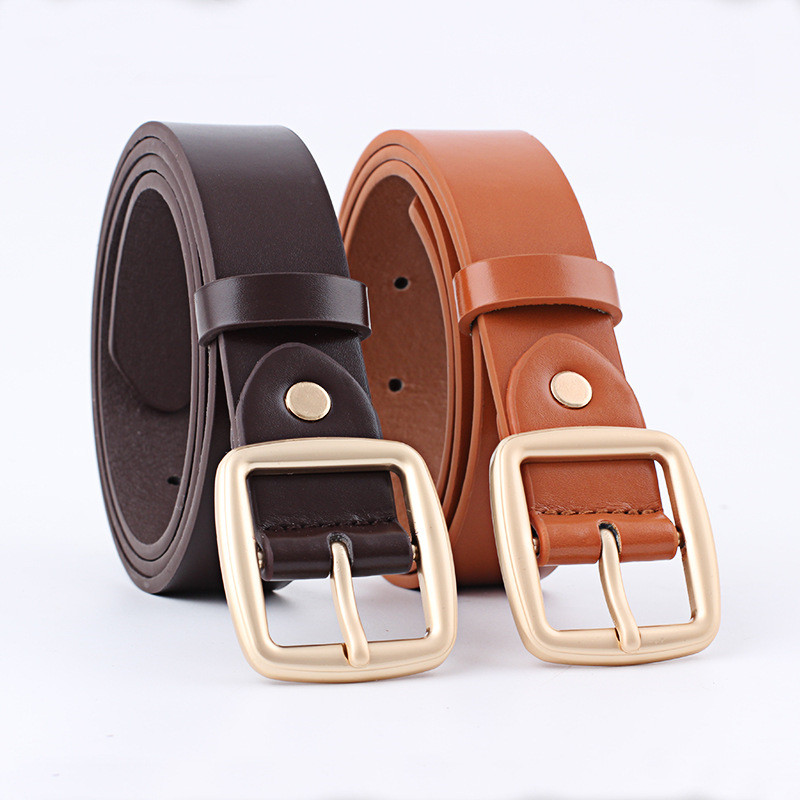 AWAYTR Basic PU Belts Classic Vintage Pin Buckle 6 Colors Fashion Wild Belts Women Girls Waistband Leather Belt