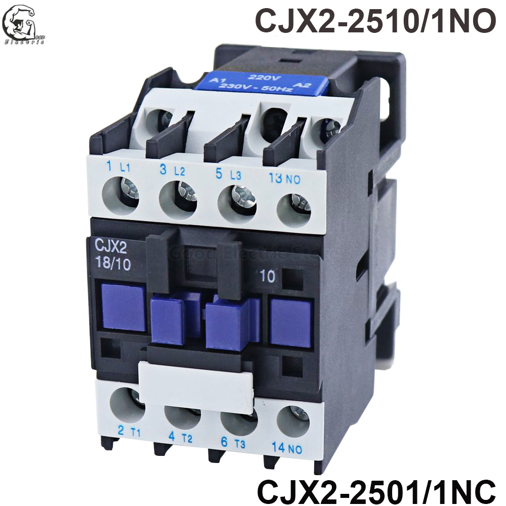 <font><b>CJX2</b></font>-<font><b>2510</b></font> <font><b>CJX2</b></font>-2501 AC Contactor 25A 3 Phase 3Pole NO Coil Voltage 380V 220V 110V 36V 24V 50/60Hz Din Rail Mounted 3P+1NO/3P+1NC image