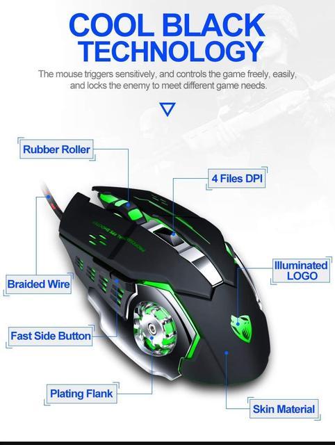 Купить мышь компьютерная v6 проводная игровая 3200dpi 6 кнопок картинки цена