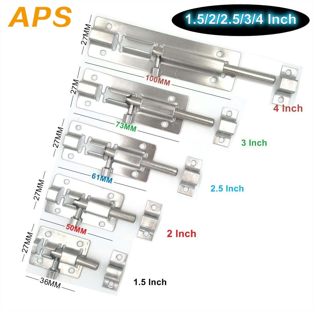 1Pcs 1.5/2/2.5/3/4 Inch Stainless Steel Door Latch Sliding Lock Bolt Latch Hasp Staple Gate Safety Lock