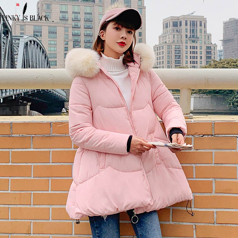 PinkyIsBlack 2019 New Autumn Winter Jacket Women Coat Sweet Cute Cat Ear Hooded Long   Parkas   Jackets Jaquata Feminina Inverno