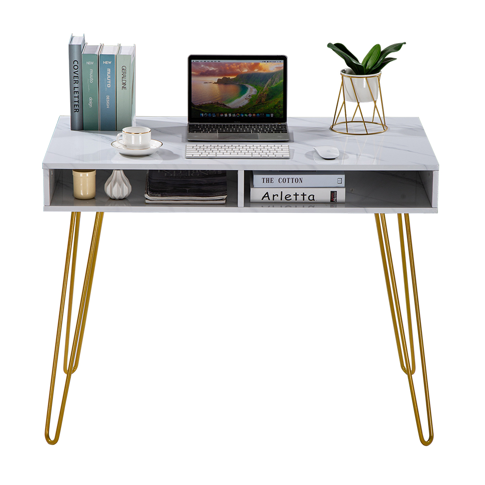 【US Warehouse】103x55x80cm Marble Iron Foot Computer Table White  Drop Shipping USA