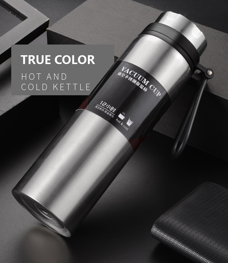 H0338b843e59441928a60c6fac7b5e7e8Z Sports bottle 800ML / 1000ML large capacity double stainless steel thermos outdoor travel portable leak-proof car vacuum flask