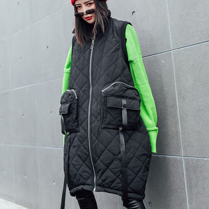 Image 4 - Vefadisa Winter Flocking Sleeveless Vest Woman 2019 Zippers Pockets Vest Coat Loose Cotton padded Vest Black Brown QYF1262