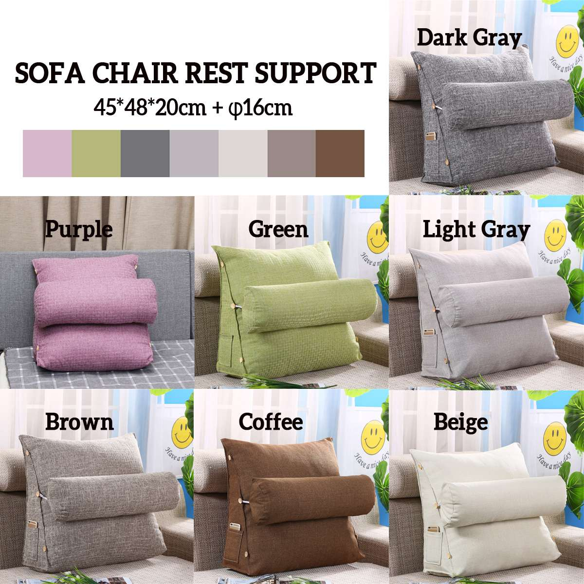 Triangle Back Pillow Sofa Bed Chair Back Rest Backrest Cushion Support Decor