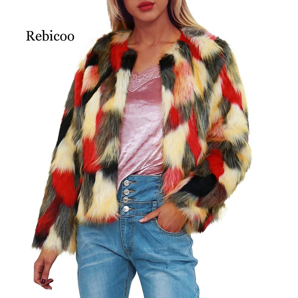 Womens in fur coats mink Warm Faux Fur Coat Jacket Winter Gradient Color Parka Outerwear women fur vest in Faux Fur from Women 39 s Clothing