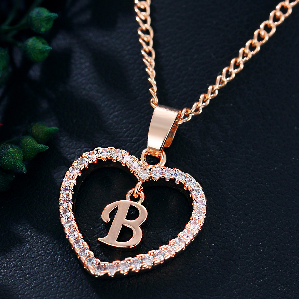 Zircon Heart A-Z Initial Letter Necklaces For Women Lover Rose Gold Silver Color Chain Female Pendant Necklace Fashion Jewelry