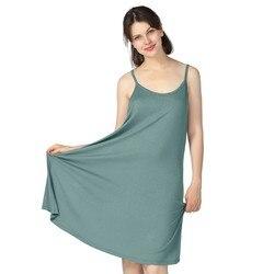 Ночная сорочка женская без рукавов, пикантная ночная рубашка из бамбукового волокна, Повседневная Свободная Ночная рубашка на бретелях-спа...