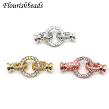 High Quality Round Charm in Center Necklace Clasps Zircon CZ Beads Paved Fashion Jewelry Findings Links 10pc/lot