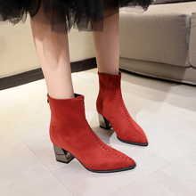купить Sexy Ankle Boots for Women Black Red Suede Boots Plush Pointed Toe Women Boots Winter Autumn 2019 New Fashion High Heels Boots онлайн