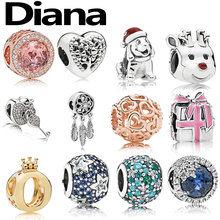 Diana fit original Pandora charm bracelet DIY personality simple fashion jewelry high-quality lady 925 sterling silver beads