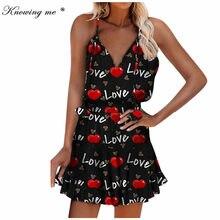 Women Summer Lover heart Print Dress Elegant Sexy V-neck Strap floral Geometric printed Mini Dress Female casual beach dresses