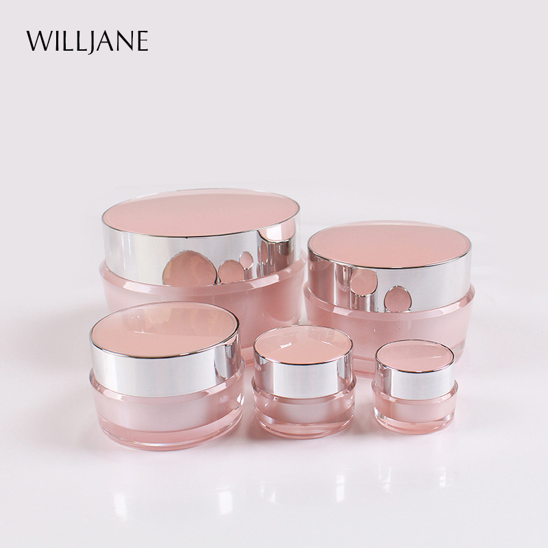 2g-100g Empty Eye Face Cream Jar Body Lotion Packaging Bottle Travel Acrylic Pink Container Cosmetic Makeup Emulsion Sub-bottle