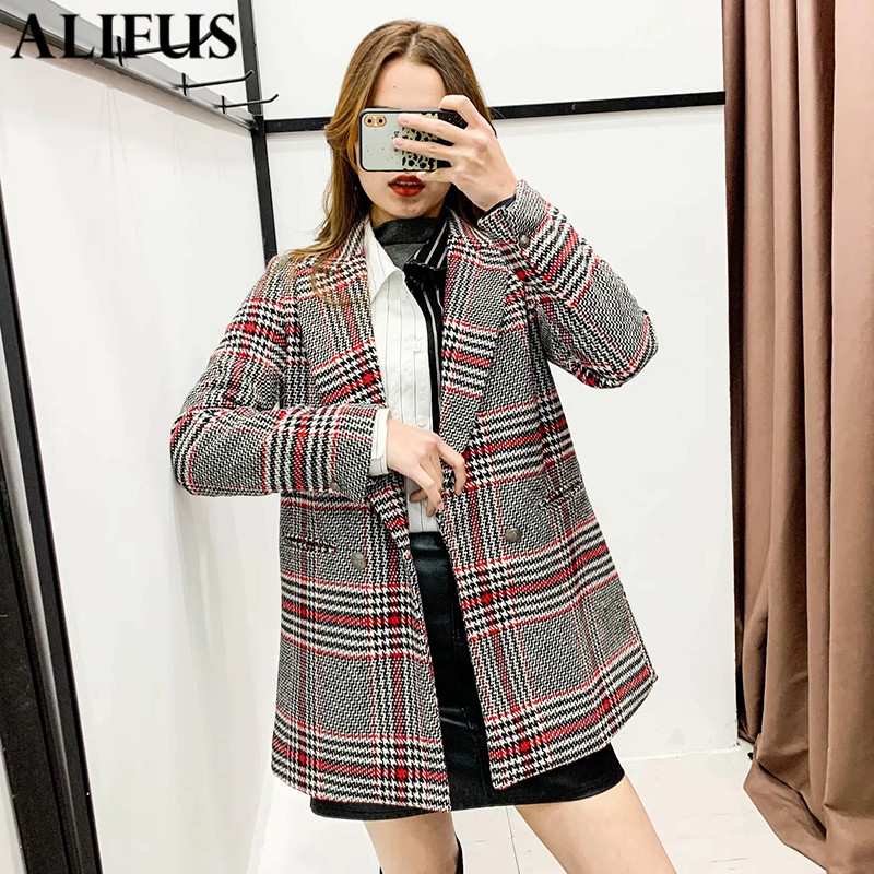 Fashion Za Women 2019 Plaid Office Lady Blazer Coat Double Breasted Long Sleeve Stylish Notched Collar Ladies Outerwear Chic Top