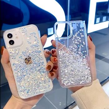 Brokatowy płyn Quicksand Bling diamentowy futerał na telefon iphone 12 11 pro max 12mini XS MAX X XR 7 8 6S 6 Plus SE2 przezroczysty pokrowiec tanie i dobre opinie ZUIDID APPLE CN (pochodzenie) Częściowo przysłonięte etui przezroczyste Odblaskowe