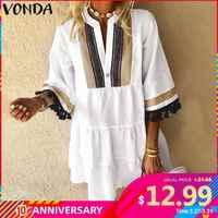 Robe d'été VONDA 2020 Femme Vintage imprimé demi manches col en V robes de soirée Mini robes bohème robes Femme Robe