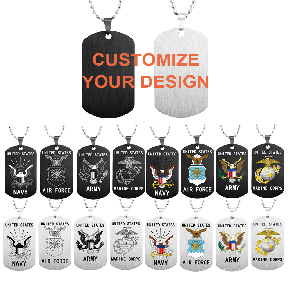 Customizable Dog Tag Necklace Pop Stainless Steel Men Jewelry Pendant Necklaces Military Army ID Tag Necklace