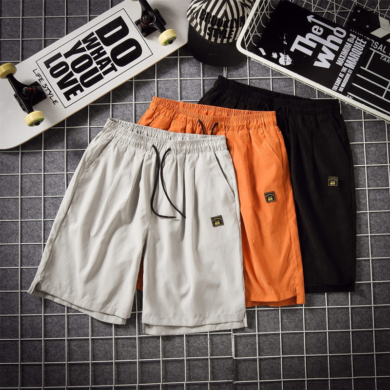 Work Clothes Shorts Man Full Marks Trousers Tide Card Leisure Time Easy Seven Branch Pants Student Sandy Beach Motion In