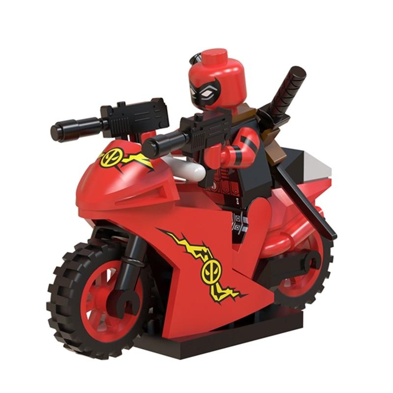 Single Super Heroes Deadpool Motorcycle Figure With Motor Stripe Suit Marvel Building Blocks Sets Bricks Kids Toys Legoing
