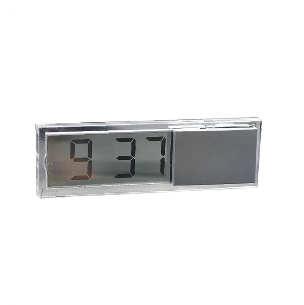 Silver Car Electronic Digital Clock With Transparent LCD Display Suction Cup