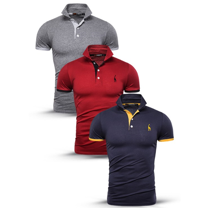 Dropshipping NEGIZBER 3 Pcs/Lot Cotton Polos Men Fashion Deer Embroidery Polo Shirt Men Casual Business Mens Polo Giraffe Large