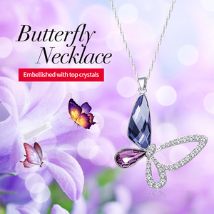 Image 2 - Cdyle 925 Sterling Silver Women Necklace Purple Crystal Butterfly Pendant with Zircon Fashion Fine Jewellery Accessories