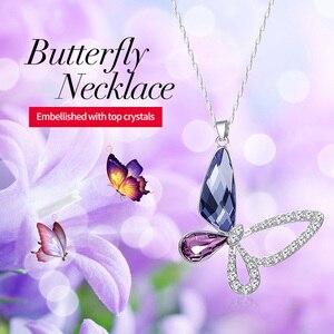 Image 2 - Cdyle collar de plata de ley 925 con colgante de mariposa y circón, joyería fina, Cristal púrpura