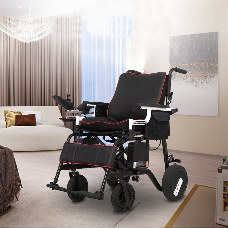 FoldLite Electric Wheelchair Power Foldable Compact Mobility Lightweight, Non-slip Longger Driving Range Heavy Duty