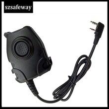 Wodoodporny kabel PTT do zestawu słuchawkowego Z taktycznym ComtacII H50 MSA SORDIN H60 HD03 zestaw słuchawkowy do Kenwood do radiotelefonu Baofeng