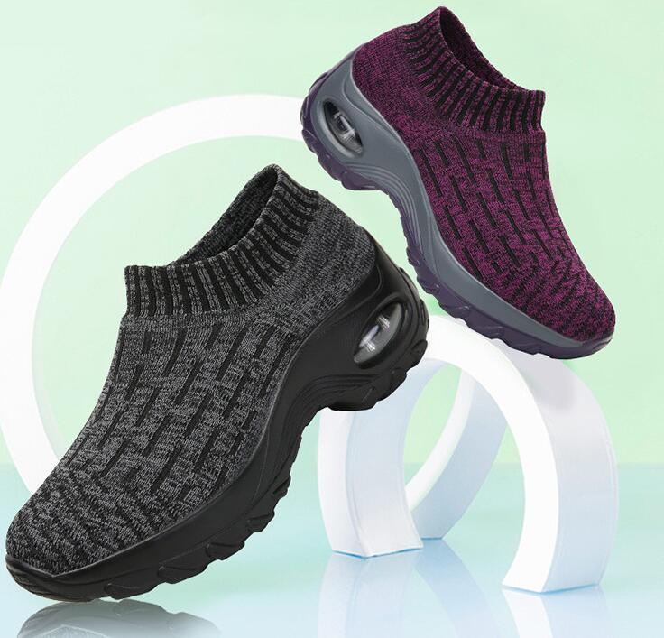 Zapatillas de otoño calcetines Zapatos de madre zapatos de punto de gran tamaño de las mujeres de fondo grueso de moda calcetines Zapatos de diseñador casual - 2