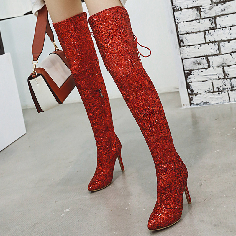 Rimocy Shining Glitter Over Knee Boots