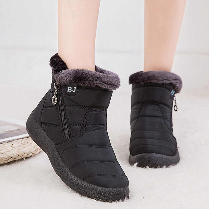 Waterproof Snow Boots Female Winter Fur Warm Ankle Boots For Women Boots Winter Boots Zipper Non-slip Winter Shoes Women Booties