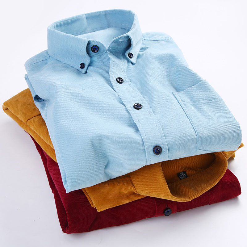 Men's Corduroy 100% Cotton Long Sleeved Shirts Plus Size Fashion Soft Touch Button-Down High Quality Slim Fit Men Casual Shirts