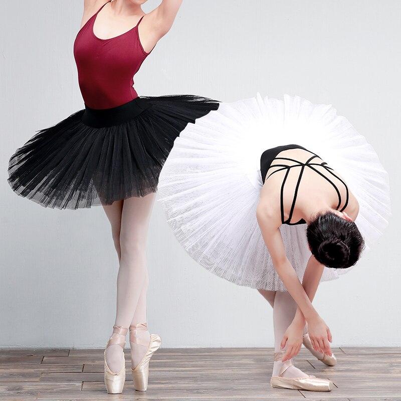 Professional Ballet Tutu Adult Dance Skirt Woman Ballet Swan Lake Performance Costumes White Black 7Layers Hard Mesh Tutu Ballet
