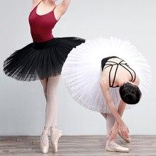 Jupe de Ballet professionnelle Tutu pour adulte, Costumes de Performance du lac des cygnes, blanc et noir, 7 couches, maille dure