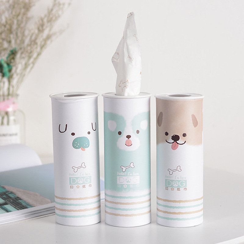 Creative Cartoon Printed Barrel Car Mounted Paper Extraction Household Three Layer Thick Napkin Boutique Advertisement Kleenex C