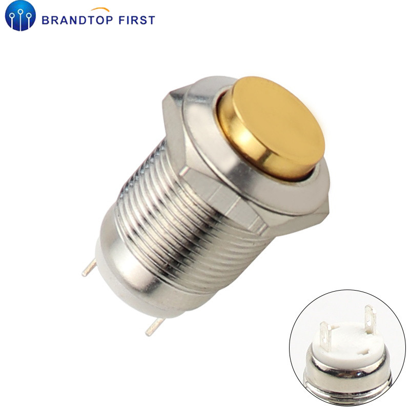 1Pc 2 Pins 12mm car computer waterproof momentary metal push button switch PM