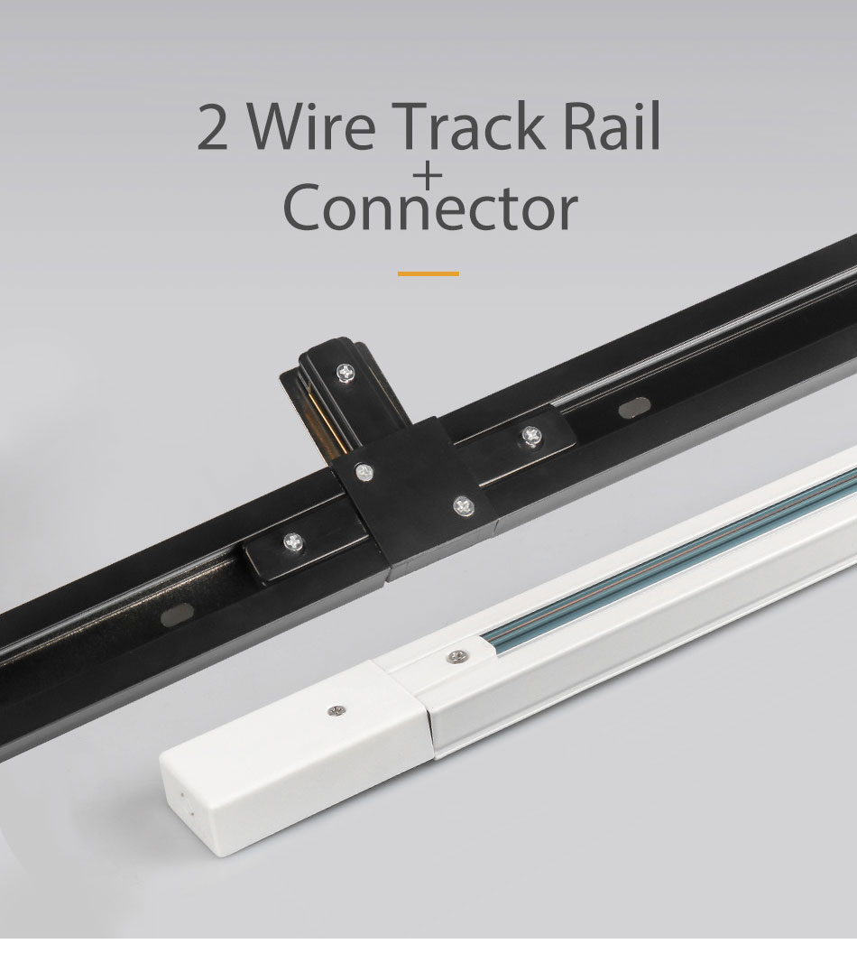 Track Rail 1m Track Light Fitting Aluminum 1 meter 2 wire Connector System Tracks Fixture black white Universal Rails 10pcslot (3)