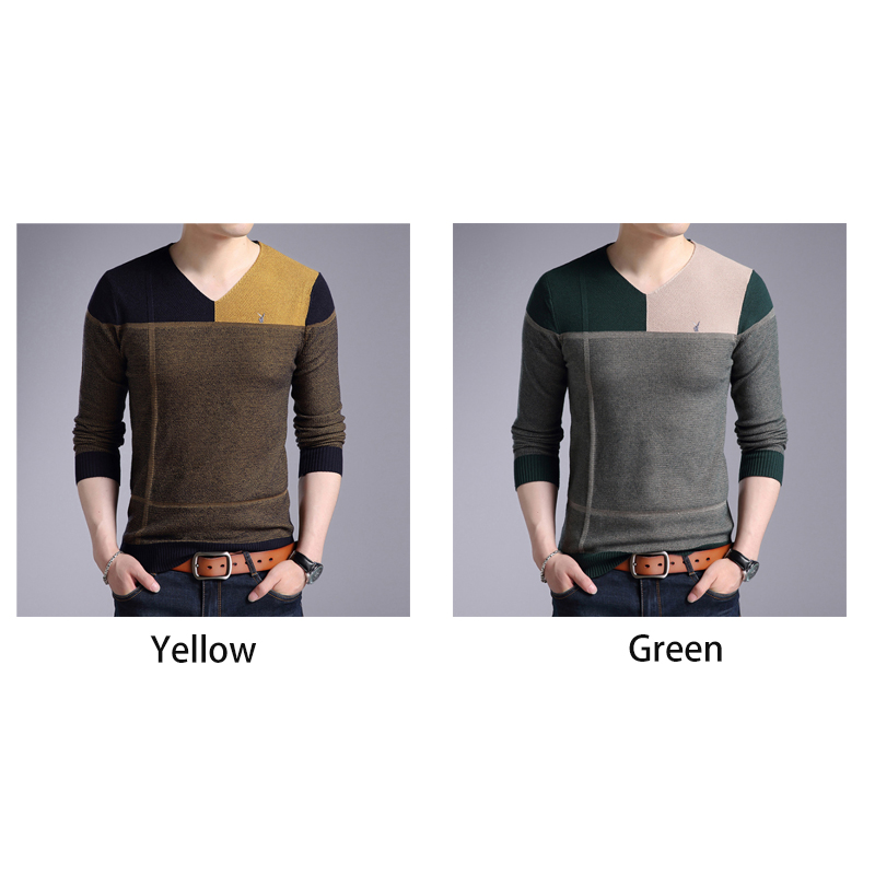 Winter Sweater Cashmere Men?s Fashion Color Blocking V-neck Thickening Fit Long Sleeve Sweater Trend Men's Casual Sweater