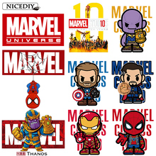 Nicediy Marvel Iron On Transfers For Clothes The Avengers Heat Transfer Vinyl Sticker Fashion Movie Patches Clothing Badge