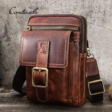 CONTACT'S – sac à bandoulière Vintage en cuir de vache pour homme, sacoche multifonctionnelle pour téléphone, de qualité, 100%