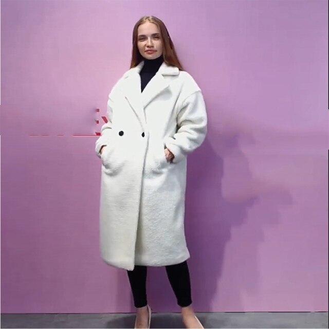 Autumn Winter Women Beige Teddy Coat Stylish Female Thick Warm Cashmere Jacket Casual Girls Streetwear 4