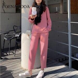 Image 4 - Genayooa ヴィンテージニット女性ツーピーススーツ長袖 2 個セット女性因果ツーピースセットトップとパンツ 2019 冬