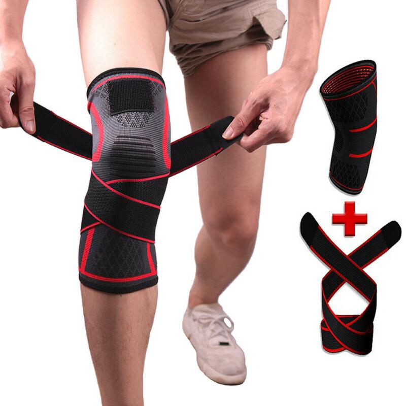 1PC Adjustable Knee Sleeve Support Strap Elastic Bandage Brace Leg Wraps For Basketball Heavy Weightlifting