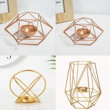 Modern Wrought Iron Geometric Candle Holder Gold Candlestick Tea Light Crafts for Home Party Wedding Decor Ornaments
