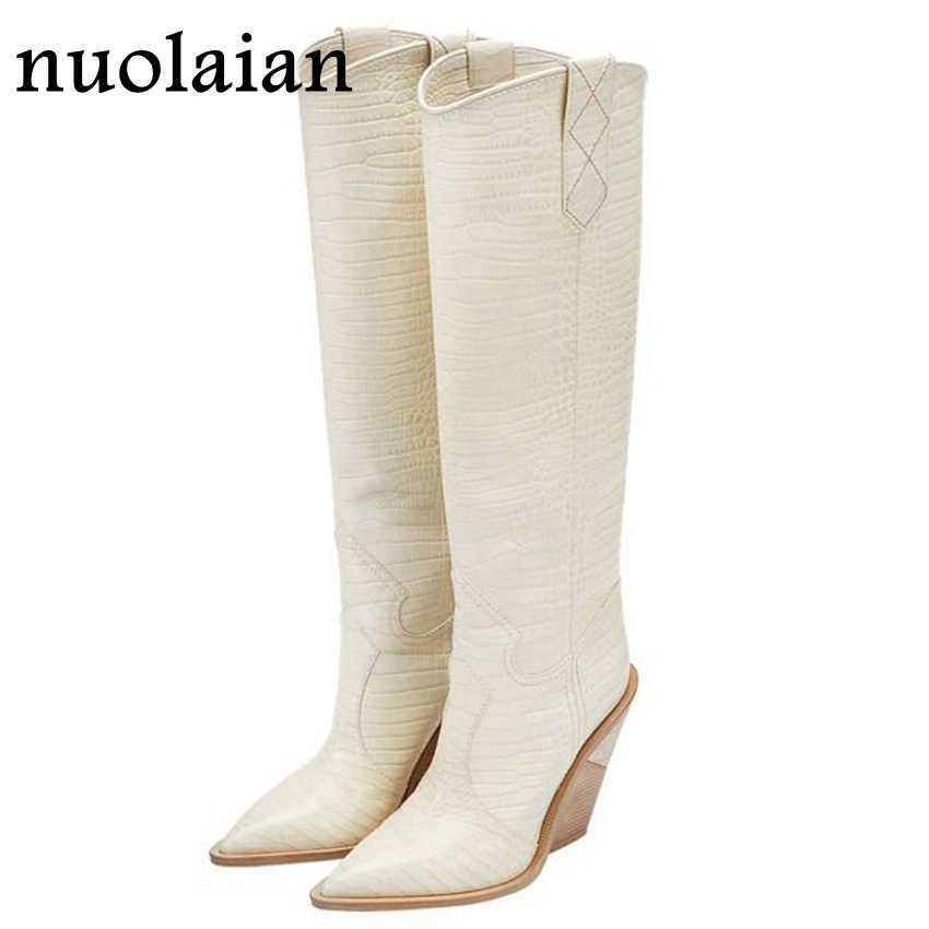 9.5CM Heels Women's Knee-High Boots Leather Winter Shoes Woman Fur Snow Boots Lady Wedges Boot Womens Thigh High Boots Chaussure