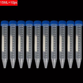 10 Pk 15ml zakrętka plastikowa butelka przezroczysta rurka pojemnik na próbki pojemnik na promieniowanie eksperyment cylinder wirówki z tworzywa sztucznego tanie i dobre opinie 15 ml Experimental consumables plastic 10pc set Scientific experimental equipment