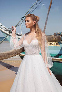 Image 3 - Pearl A Line Tulle Wedding Dresses Long Sleeves O Neck Lace Appliques Open Back Sweep Train Bridal Gown Vestidos De Noiva