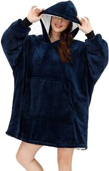 Manta con mangas para mujer, Sudadera con capucha de invierno de gran tamaño, sudaderas con capucha de forro polar cálido, manta de televisión gigante, capucha para mujer, bata para parejas, hombre